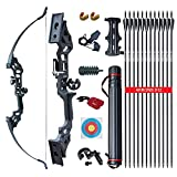 Archery Takedown Recurve Bow and Arrow Set for Adults Practice Hunting Long Bow Kit for Outdoor Shooting Training Right Hand (30 LBS)
