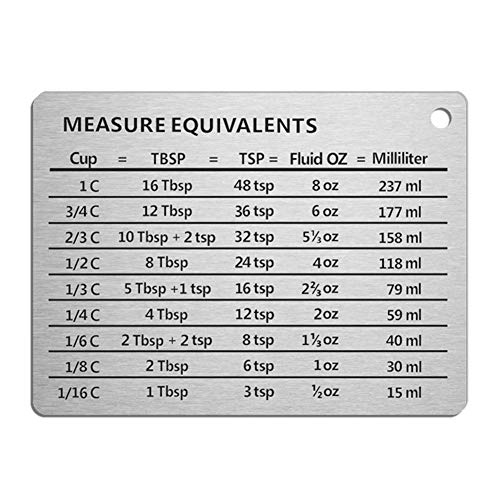 6SHINE Professional Measurement Conversion Chart Refrigerator Magnet in 11 x 8.5cm Stainless Steel, Conversions For Cups, Tablespoons, Teaspoons, Fluid Oz and Milliliters