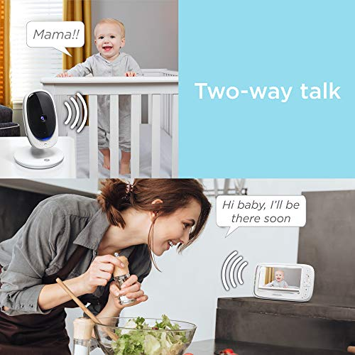 """Motorola Comfort 50-2 Video Baby Monitor 5"""" LCD Color Display and 2 Cameras with Digital Zoom, Two-Way Audio, Infrared Night Vision and 5 Soothing Lullabies"""