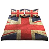 Calmd Bed Sheets Set Retro Union Jack Flag Microfiber Soft Bed Sheet Skin-Friendly Anti-Wrinkle Bedding Queen Size