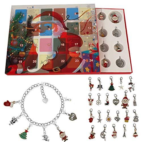 FeiliandaJJ Schmuck Adventskalender Damen Kinder Mädchen DIY Schmuck Set Weihnachtskalender Weihnachten Geschenk - 22 Anhänger+2 Armbänder (B)