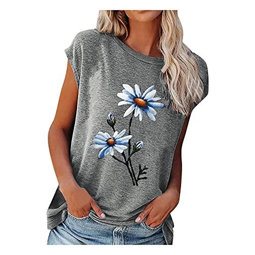 Damen Sommer Tshirt Oberteile Elegant Floral Drucken Kurzarm T-Shirt Weiss Tee Tops Casual Basic Shirts Mode Rundhals Teenager Mädchen Frauen Hemd Bluse Tunic Tunika Sport T Shirts Damen Fitness