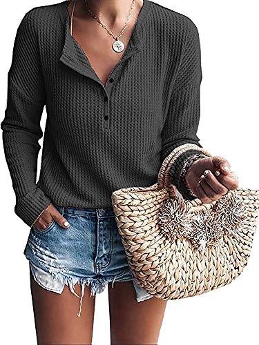 MOLERANI Women's Long Sleeve Waffle Knit Tunic Blouse Casual Button Up Henley Shirts Plain Tops Dark Gray M