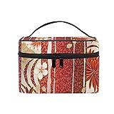 Tragbare Make-up Kosmetiktasche Quadrat mit Reißverschluss Blumen Japanisch farbige einlagige...
