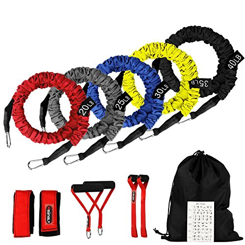 SUPALAK Resistance Bands, 15 Pieces Exercise Elastic Bands Set, 20lbs to 40lbs Resistance Tubes with Heavy Duty Protective Nylon Sleeves Anti-Snap for...