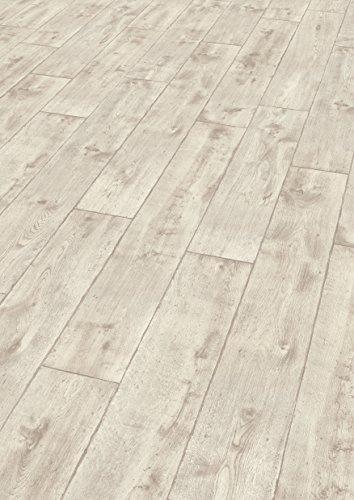 EGGER Home Laminat hell grau Holzoptik - Vinstra Eiche weiß  EHL092 (8mm, 1,985m²) Klick Laminatboden | Bodenbelag