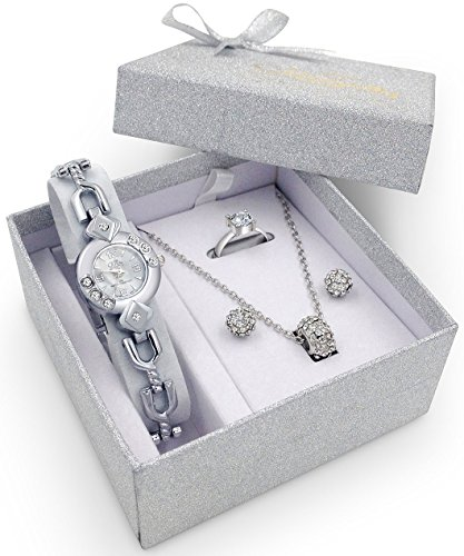 Silver Watch Jewelry Gift Set Woman Girlfriend Ladies Female Wife Mum Sister Her Birthday