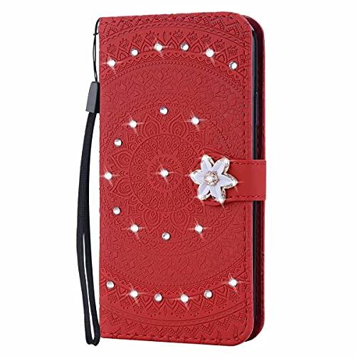 Molg Compatible con Funda Samsung Galaxy J6 2018 Mandala Taladro De Punta En Relieve Cuero De La PU Funda Flip Wallet [Clip De Tarjeta] [Hebilla Magnética] Anti-Shock Funda Protectora-Rojo