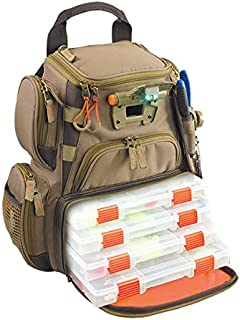 Custom Leathercraft Wild River by CLC WT3503 Tackle Tek Recon Lighted Compact Tackle Backpack with Four PT3500 Trays and Clear, Water-resistant Phone Storage
