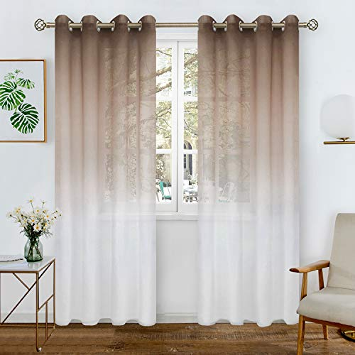 BGment Leinen-Optik Farbverlauf Sheer Vorhänge für Wohnzimmer, Light Filter und Privat Halbtransparent Voile Gardinen mit Ösen für Schlafzimmer, 2 Stück(H241 x B132 cm, Braun und Weiß