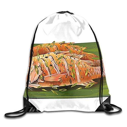 BXBX Plegable Fish Fry Drawstring Backpack Bag Shoulder Bags Gym Bag for Adult