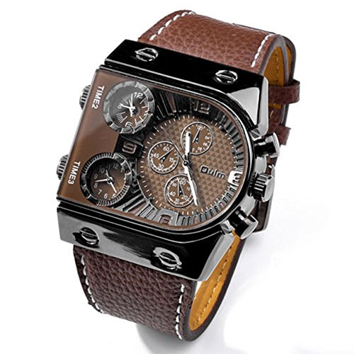 SSITG polshorloge horloge sporthorloge multifunctioneel herenhorloge chrono lederen horloge rechthoek 6#