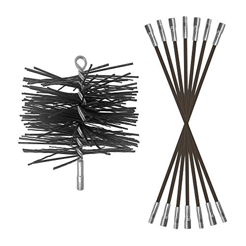 Best Deals! Chromex 6 Inch Poly Chimney Cleaning Brush and 7 Piece 21 Foot Chimney Rod Bundle