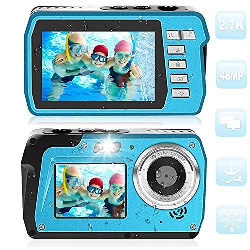 デジカメ 防水 防水カメラ 「2021最新版」水中カメラ HD2.7K 48MPデジタルカメラ デュアルスクリーンHD充電カメラ(キャンプ、水中、水泳、最高のセルフィー写真用)日本語説明書付き…