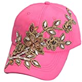 Belsen Gorra de béisbol vintage con diamantes de imitación de flores para mujer, Rosa Roja, Talla única
