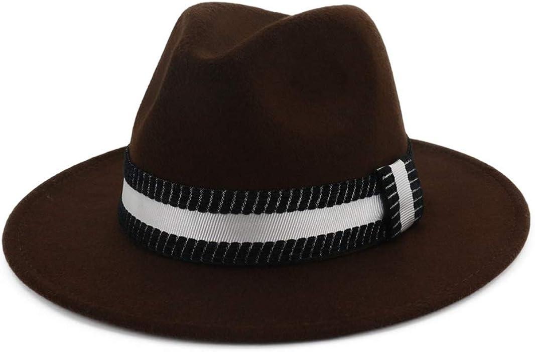 Womens Classic Wide Brim Floppy Panama Hat Belt Buckle Felt Fedora Hat for Travel Vacation Fashion Casual Jazz Cap
