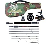 X5 Combination Travel Fishing Rod 2 Reels & Case. 5 Rods in ONE. 220cm 7' 2' + 190cm 6' 3' Spin, Cast, Bait, Fly Nano-Carbon Fishing rods, 4 Tips. 10 Sections