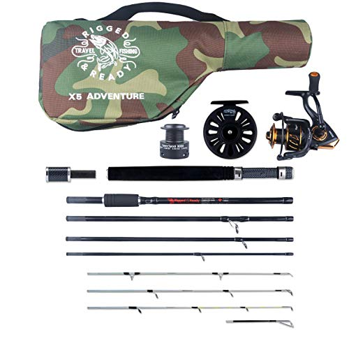 X5 Combination Travel Fishing Rod 2 Reels & Case. 5 Rods in ONE. 220cm 7'...