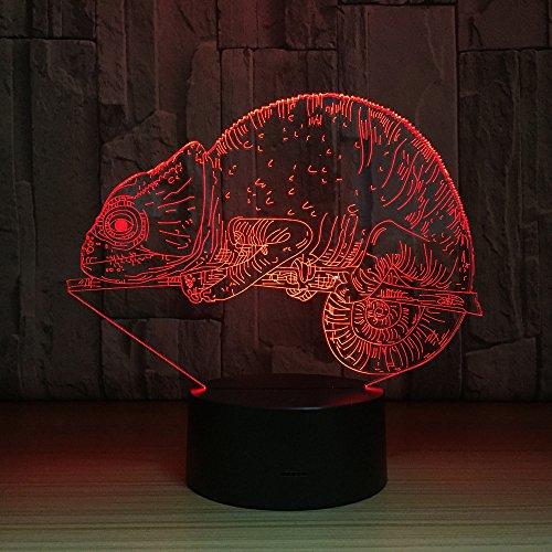3D Tierisches Chamäleon Nachtlicht, 16 Farbwechsel Fernbedienung Schlafzimmer Deko USB Tischlampe, Optische Illusions LED Nachtlampe, Für Kinder Weihnachten Geburtstag Beste Geschenk Spielzeug