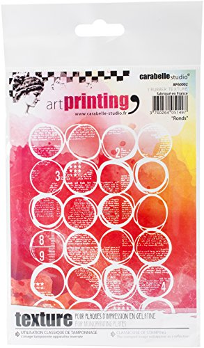 Carabelle Studio Art Printing Rubber Texture Stamp, Circles, Rectangle for Gel Monoprint Plates, Multi-Colored, One Size
