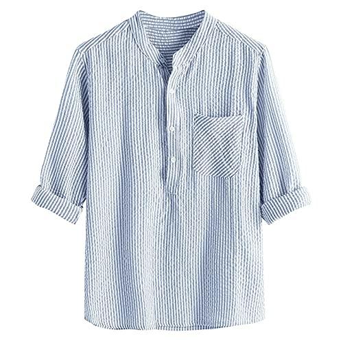 BOOMJIU Herren Leinenhemd Hemd, Herren Hemd Langarm Sommerhemd Freizeithemden Streifen Langarmshirt Große Größe T-Shirt Männer Freizeithemd Slim Fit Sommer Casual Basic Leinen Shirt