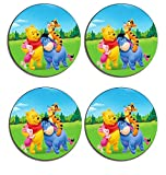 Winnie The Pooh Drink Coasters ( Set of 4 ), Wooden cork Drinks mat, place mat