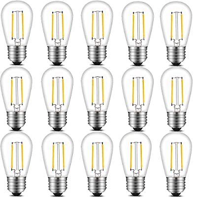 INNOCCY Vintage S14 LED Light Bulbs, 2W 200 Lumens 2700K SoftWarm Waterproof Bulb Great for Outdoor String Lights, 15 Pack