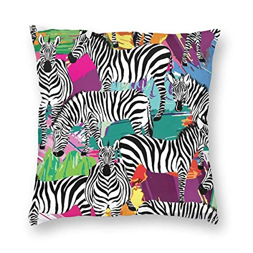 goodsale2019 Zebra Pillow Home Decorative Throw Pillow Cover Case Zebra Animal Square Cushion Cover Silk Pillow Cases 18X18X18X18 Inches Autumn Fall