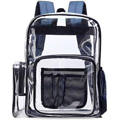 Clear Backpack, F-color Heavy Duty Clear Backpack with Laptop Compartment, See Through Large Size Clear Plastic Backpack for Adults, Boys, Girls, School, Stadium, Security, Sporting Events, Navy Blue