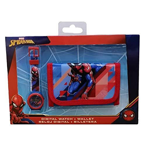 Kids Licensing |Reloj Digital + Billetera para Niños | Reloj Spiderman | Billetera Spiderman | Set Reloj y Billetera Infantil | Reloj de Pulsera Infantil | Caja Decorada para Regalo| Licencia