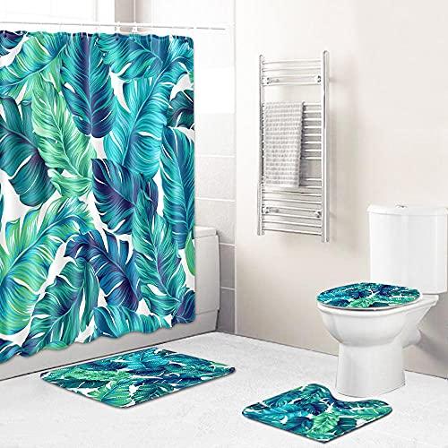 Duschvorhang Grün-Blaue Blätter Shower Curtains Polyester Waschbar Shower Curtain Wasserdicht Duschvorhänge Schimmelsicher Mit 12 Kunststoffhaken Duschvorhang 180x180