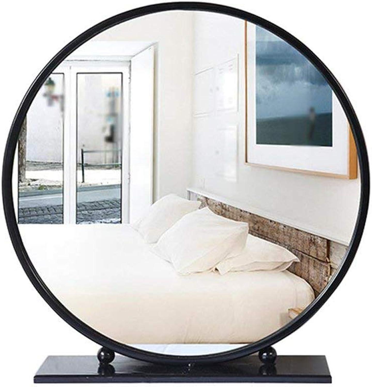 YONGMEI Mirror - Bedroom Round Vanity Mirror Desktop Princess Mirror Freestanding Dressing (color   Black, Size   40cm)