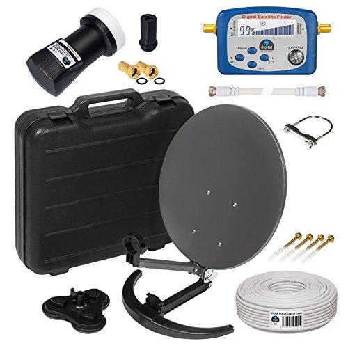 HD Camping Sat Anlage im Koffer von HB-DIGITAL: 📡 Mini Sat Schüssel 40cm Anthrazit ➕ UHD Single LNB 0,1 dB ➕ Digital SATFINDER ➕ 10m SAT-Kabel inkl. F-Stecker 💢 4K UHD Full HD 1080p fähig 💢