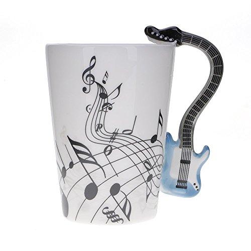 Mug avec anse en forme de guitare bleue