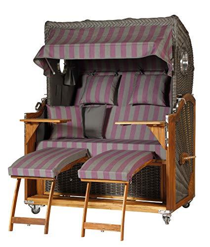 WODEGA Woldega Kampen Business Hublot 2,5 Chaise de Plage en Teck avec roulettes et Support de réglage Gris foncé