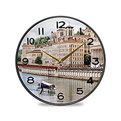 ALUONI Round Wall Clock, View On Rhone River and The Old Town in Lyon City in France Vintage Wall Clocks Battery Operated Kitchen/Home/School Patio Decor 9.5 No65235