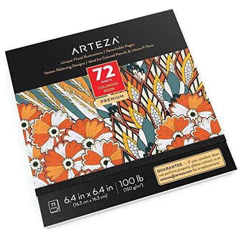 Livro de colorir para adultos da Arteza, desenhos florais, 72 folhas, 100 lb, 6,4 x 6,4 polegadas, páginas destacáveis, contornos pretos, livros de colorir para mulheres e homens que aliviam o estresse