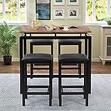 TITA-DONG Juego de mesa de bar y 4 taburetes de cocina con asiento acolchado, mesa de comedor pequeña y 4 sillas