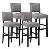 Gray Fabric Bar Stools with Nailhead Trim for Kitchen Dining Room,Set of 4