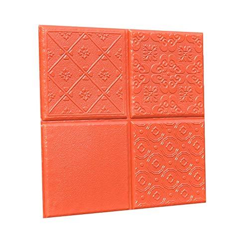 Luude 10 stuks zelfklevende muurstickers van elastisch 3D-vinyl, waterdicht en eenvoudig te knippen, combinatie van borduurwerk om zelf te maken (30 × 30 × 0,8 cm), Volcanic Red
