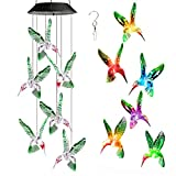 Toodour Solar Christmas Lights, Color Changing Solar Hummingbird Wind Chimes, LED Decorative Mobile, Waterproof Outdoor Decorative Lights for Patio, Balcony, Bedroom, Party, Yard, Window, Garden