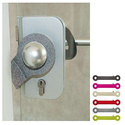 ebos Türstopper aus 100% Wollfilz | Klemmschutz, Stopper, Türpuffer | Universell einsetzbar, passend für alle Türklinken | hellgrau