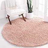 Unique Loom Davos Shag Collection Contemporary Soft Cozy Solid Shag Dusty Rose Round Rug (5' 0 x 5' 0)