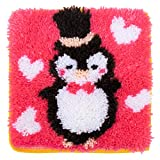 LUBOT 12' X 12' Black Penguin Latch Hook Kits Rug Making Kits DIY for Kids/Adults with Printed Canvas Pattern