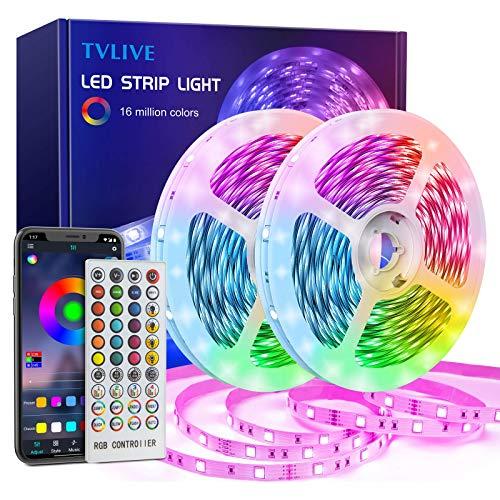 TVLIVE LED Strip 20m, RGB LED Streifen, Led Lichterkette mit Fernbedienung, 16 Mio. Farben, App-Steuerung, Musik Sync, Dimmbar, Farbwechsel 5050 LED Band für Schlafzimmer Zuhause Schrankdek