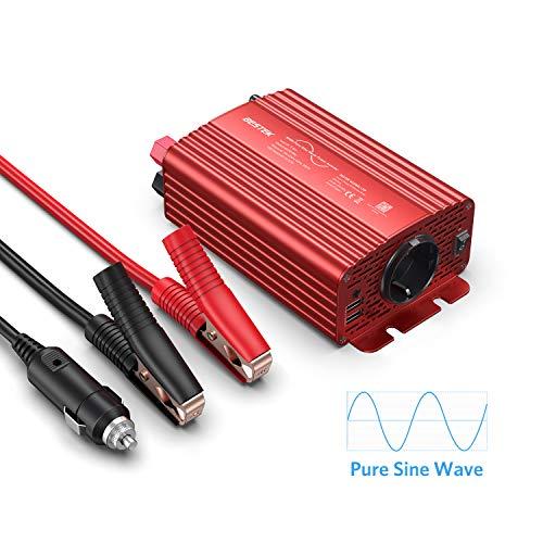 Reiner Sinus Wechselrichter 12V auf 230V BESTEK Sinus Spannungswandler 300w Stromwandler Converter Inverter mit 2 USB Ports, inklusive Kfz Zigarettenanzünder Stecker Autobatterieclips, Rot