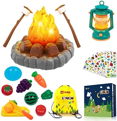 MITCIEN Pretend Camping Toy Play Set Campfire S Mores Oil Lantern Fruits Sliced Indoor Outdoor product image