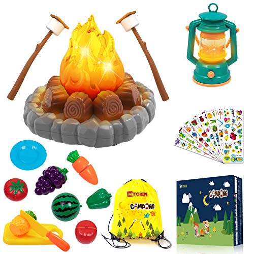 MITCIEN Camping Toys Play Set, Pretend Campfire, play food for kids with Oil Lantern, Pretend Fruits Vegetables Cutting, S'Mores, Indoor Outdoor Toys for Toddler