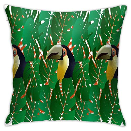 maichengxuan Tropical Parrot in The Forest Foliage Green Leaves Throw Pillow Cover, Pillowcases, Floor Pillowcases, Sofas, Cushion Covers, Car Cushion Backrest Covers
