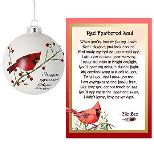 Lola Bella Gifts and Burton and Burton Cardinals Appear When Angels are Near Memorial Ornament with Red Feathered Soul Poem Card Box Grief Sympathy Gift